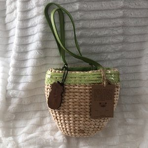 Baby Straw Bag With Green Trim